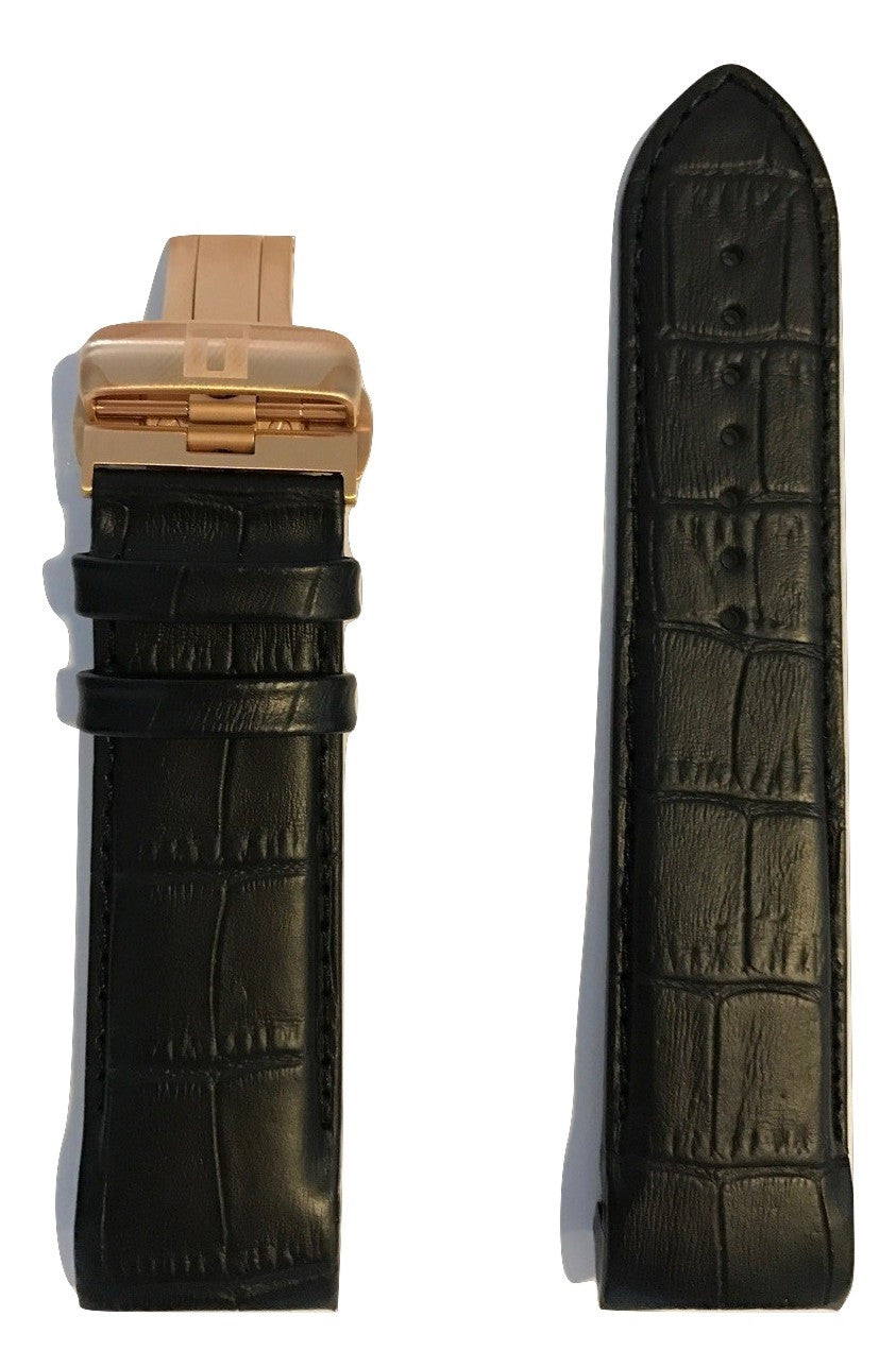 Tissot Couturier Black Leather 24mm Band Strap w/ Buckle for T035614A - WATCHBAND EXPERT