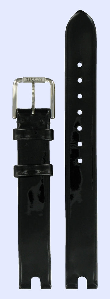Tissot Women's Flamingo T003209A Black Leather Watch Band Strap - WATCHBAND EXPERT