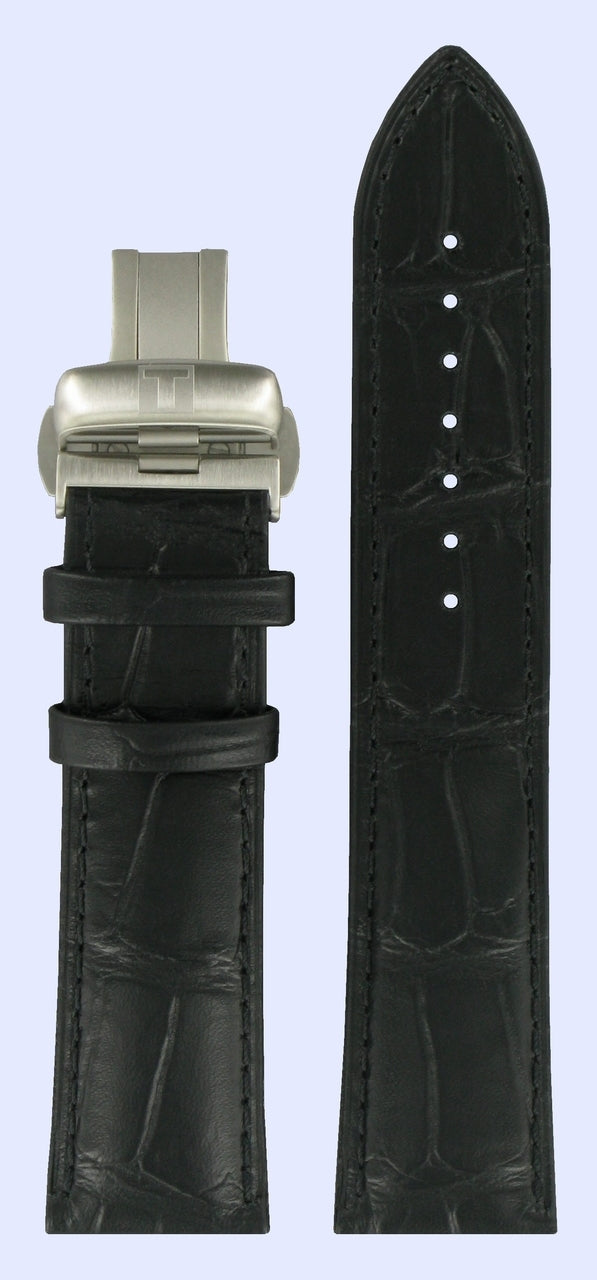 Tissot T-Lord T059527A 22mm Black Leather Band Strap with Clasp - WATCHBAND EXPERT
