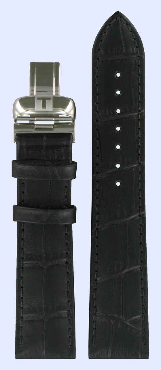 Tissot T063637A 20mm Black Leather Watch Band
