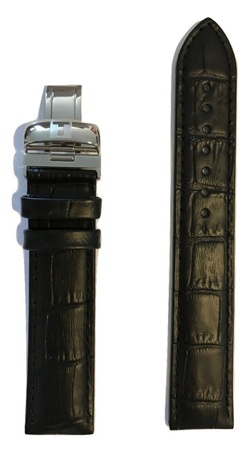 Tissot PRC 200 Black Leather 19mm Strap Band with Buckle for T055410A, T055417A - WATCHBAND EXPERT