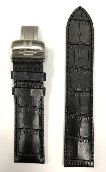 Tissot Powermatic 22mm T086408A, T086407A Black Leather Strap Band - WATCHBAND EXPERT