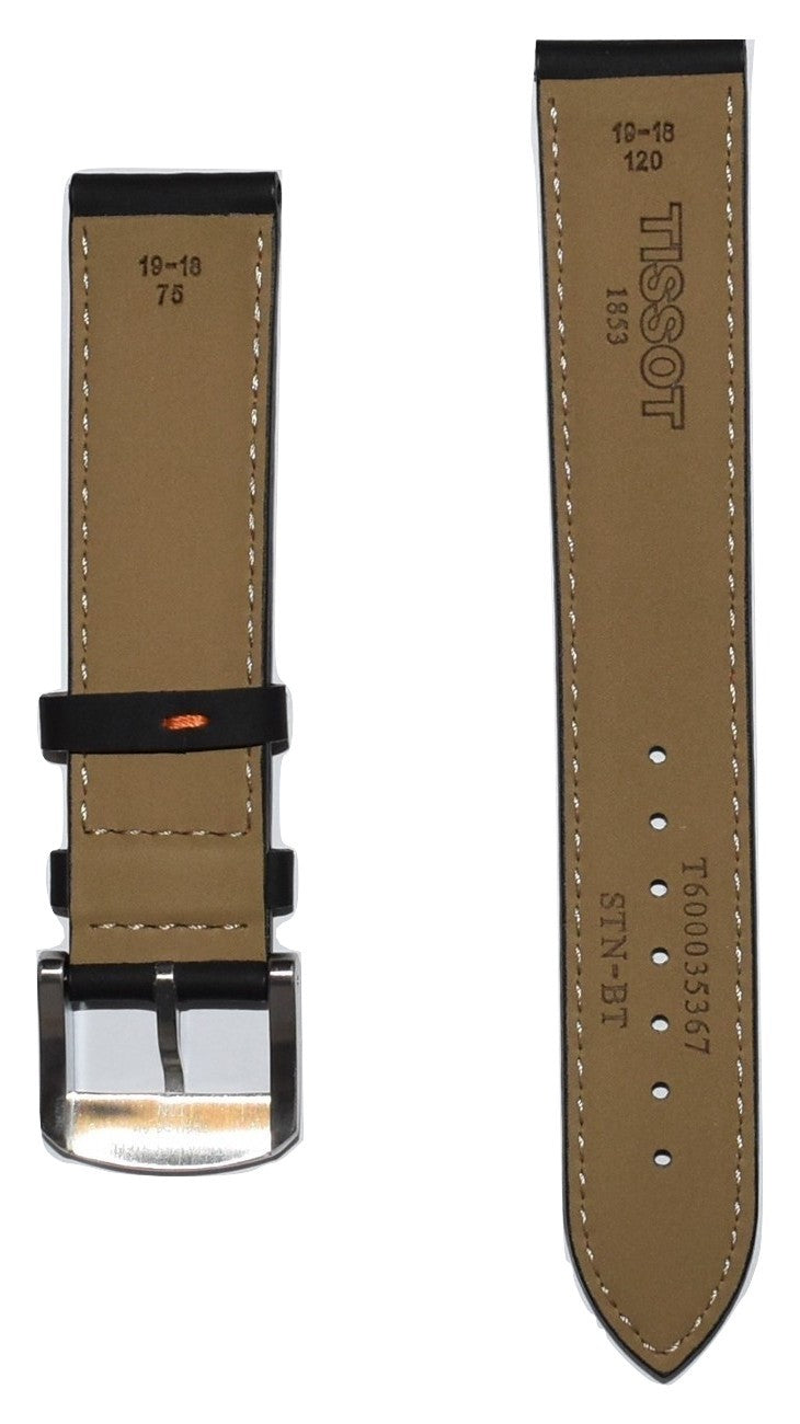 Tissot Quickster 19mm Black Leather Watch Band Replacement Strap