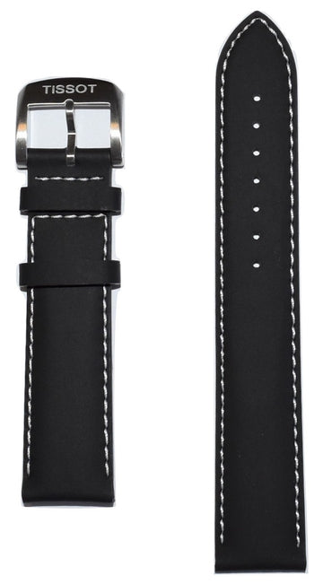 Tissot Quickster 19mm Black Leather Watch Band Replacement Strap - WATCHBAND EXPERT