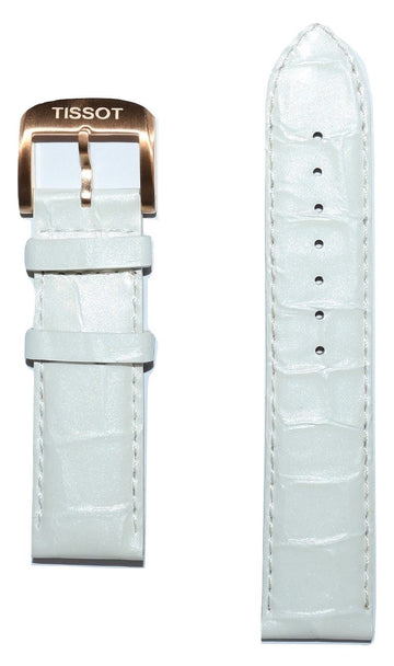 Tissot Quickster 19mm White Glossy Leather Watch Band Replacement Strap - WATCHBAND EXPERT