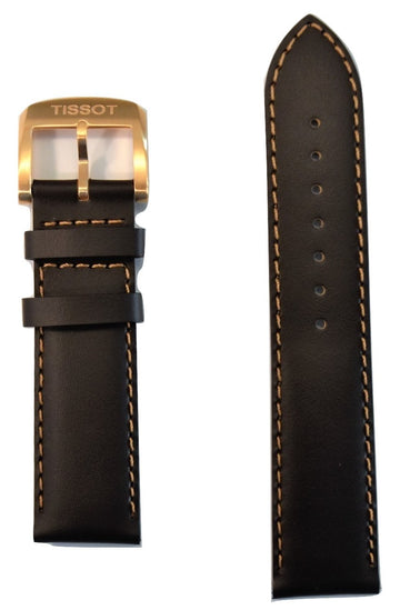 Tissot Quickster 19mm Brown Leather Watch Band Replacement Strap - WATCHBAND EXPERT