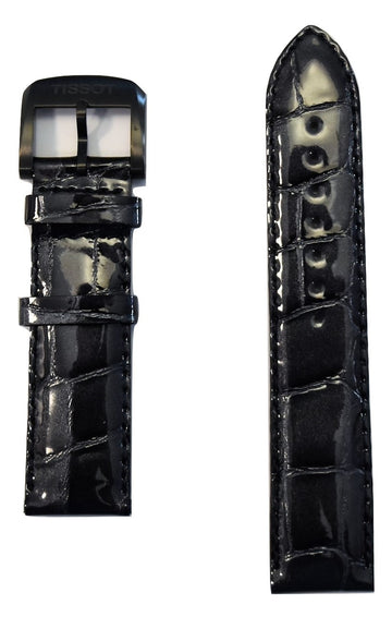 Tissot Quickster 19mm Black Glossy Leather Watch Band Replacement Strap - WATCHBAND EXPERT