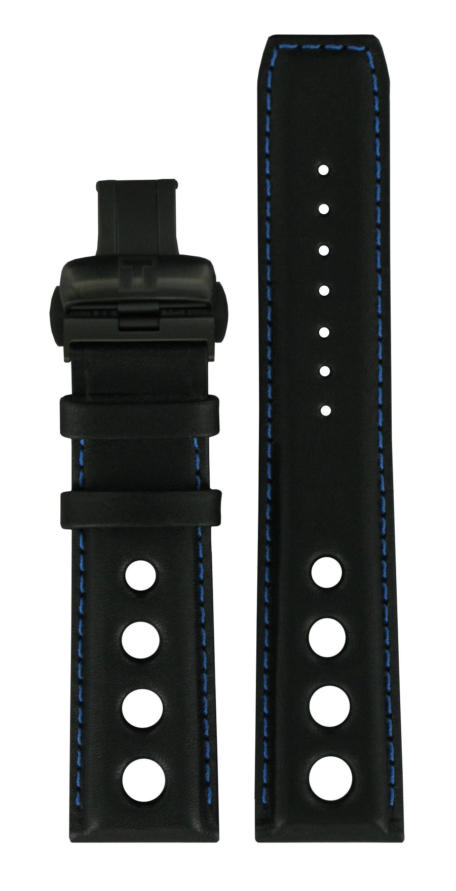 Tissot PRS-516 T100427A Black / Blue Leather Watch Band