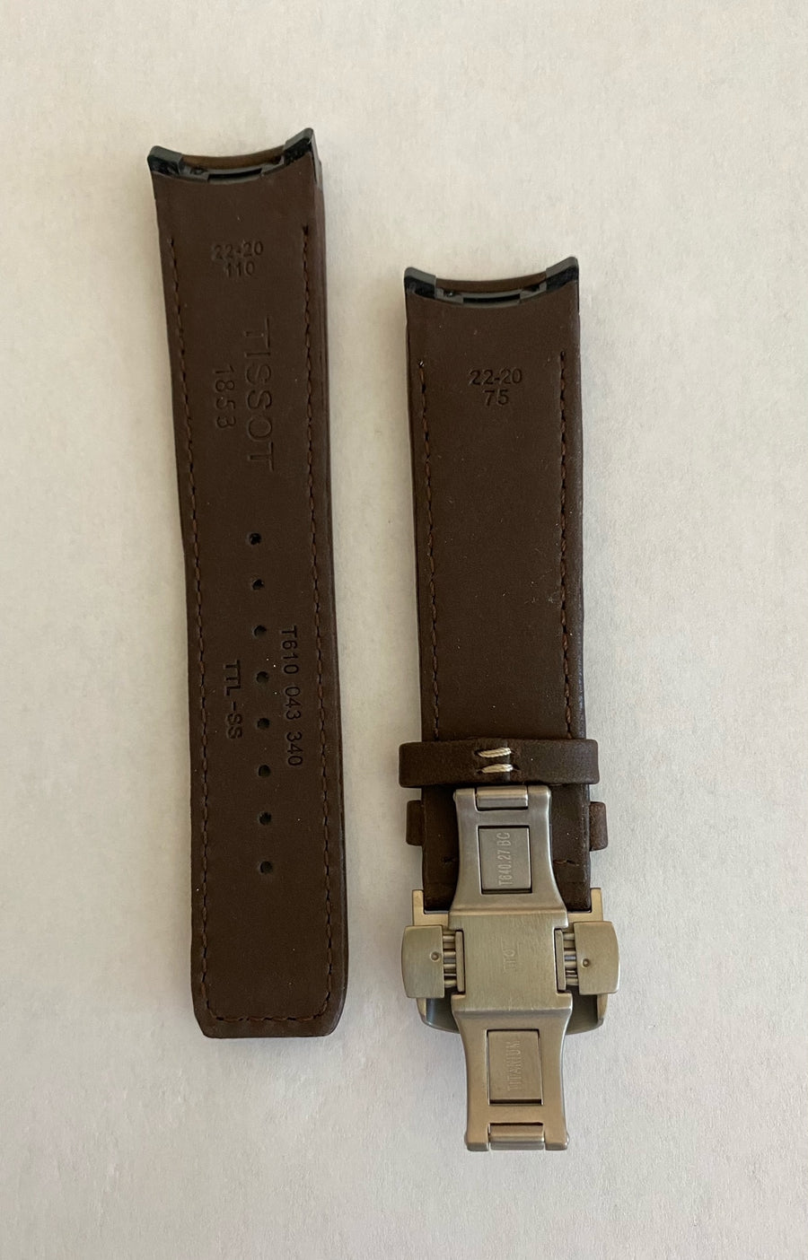 Tissot T091420A T-Touch Expert SOLAR  Brown leather watch band - WATCHBAND EXPERT