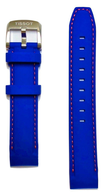 Tissot Quickster 19mm Blue Rubber Watch Band Replacement Strap - WATCHBAND EXPERT