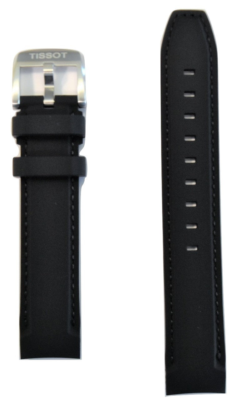 Tissot Quickster 19mm Black Rubber Watch Band Replacement Strap - WATCHBAND EXPERT
