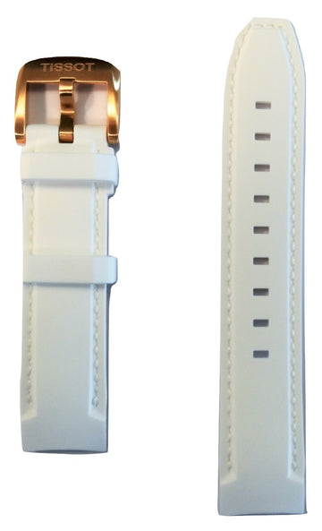 Tissot Quickster 19mm White Rubber Watch Band Replacement Strap - WATCHBAND EXPERT