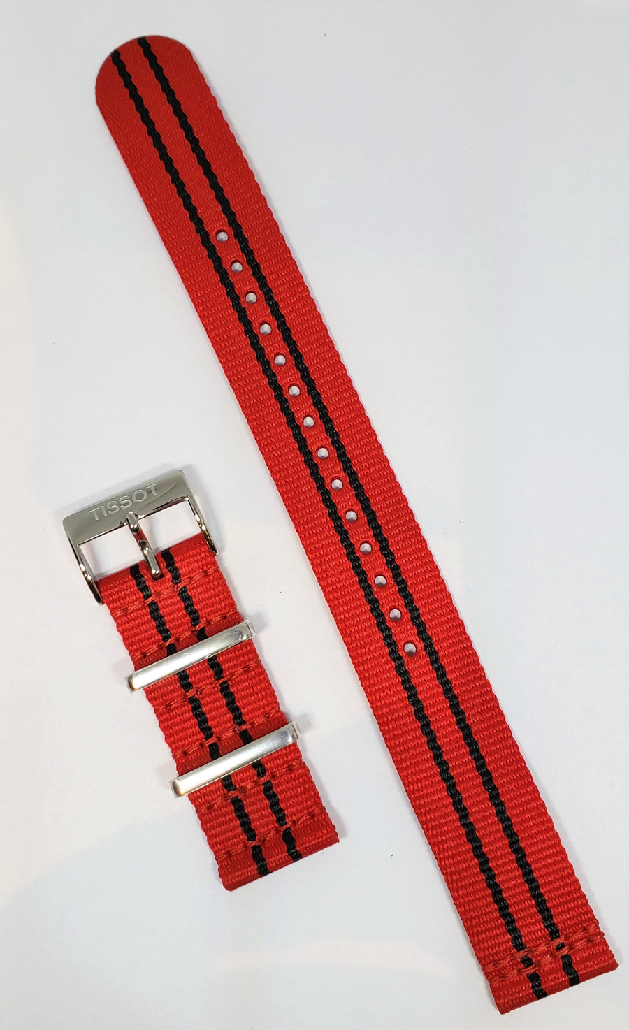 Tissot Quickster Nato T095417A / T095410A Red Black 19mm Band Strap - WATCHBAND EXPERT