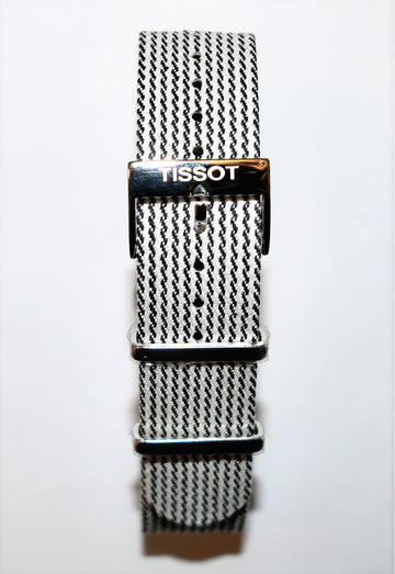 Tissot Quickster Nato T095417A, T095410A 19mm Brown/ White Strap Band - WATCHBAND EXPERT