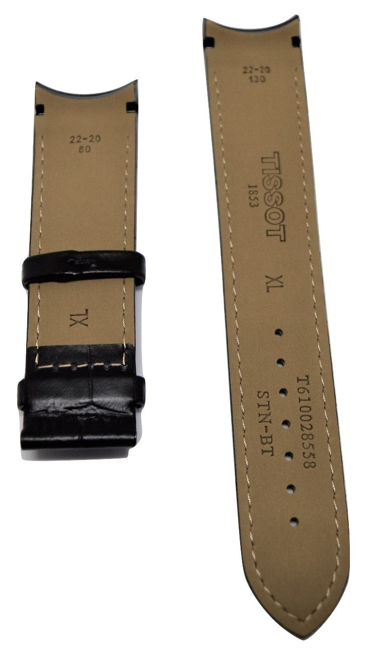 Tissot Couturier 22mm T035446A Black Leather Watch Band - WATCHBAND EXPERT