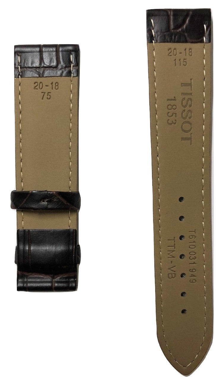 Tissot Tradition T063907A 20mm Brown Leather Watch Band Strap