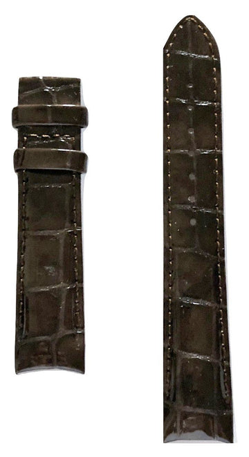 Tissot Women's Couturier 18mm Brown Glossy Leather Band Strap - WATCHBAND EXPERT