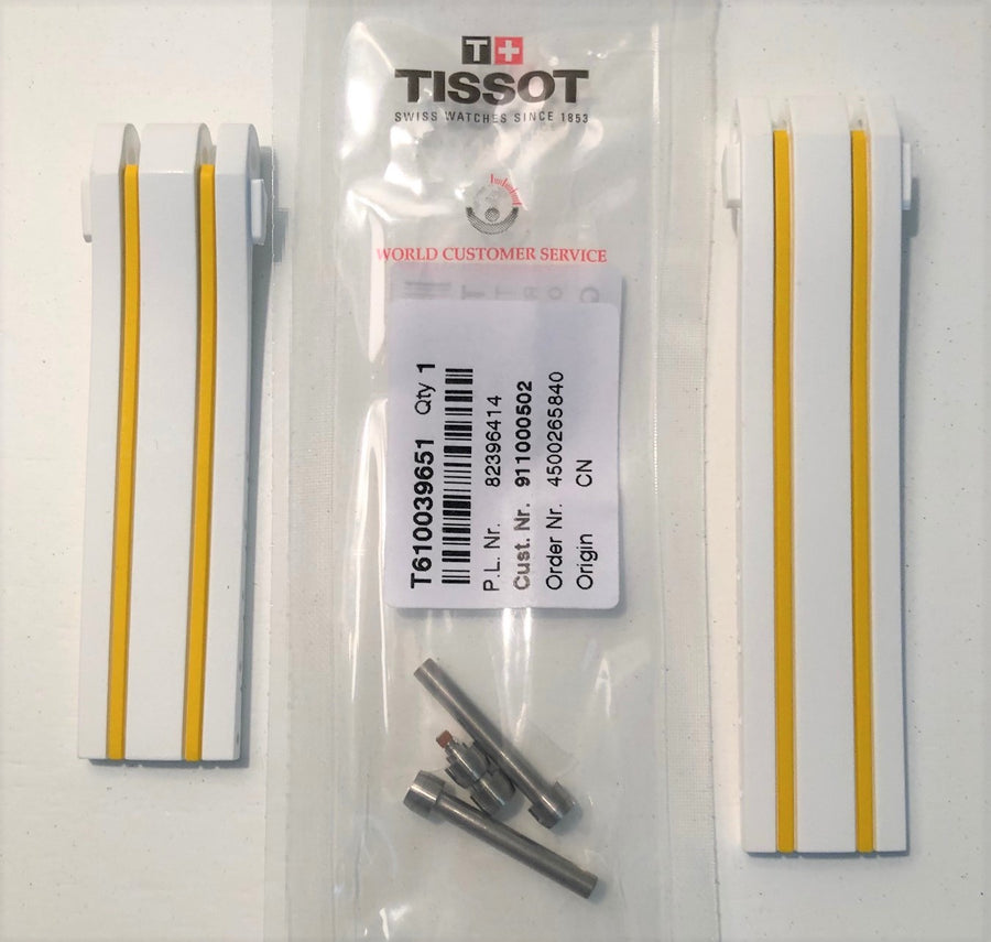Tissot T092417A T-Race White / Yellow Rubber Watch Band