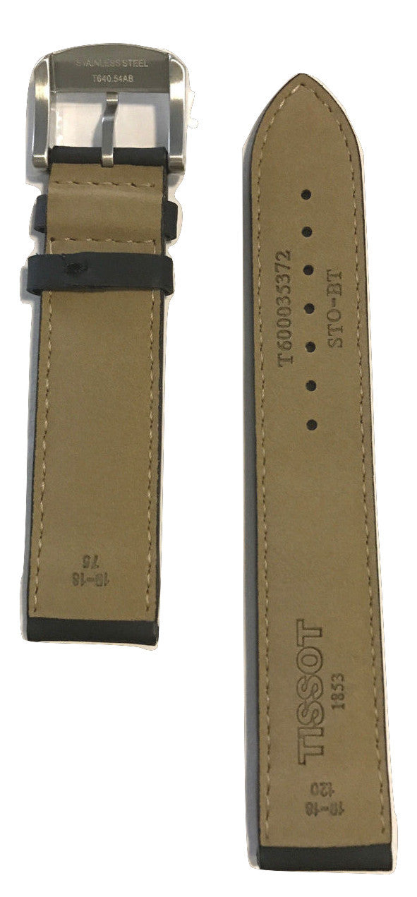 Tissot Quickster Black Leather 19mm Strap Band for back-case T095417A - WATCHBAND EXPERT