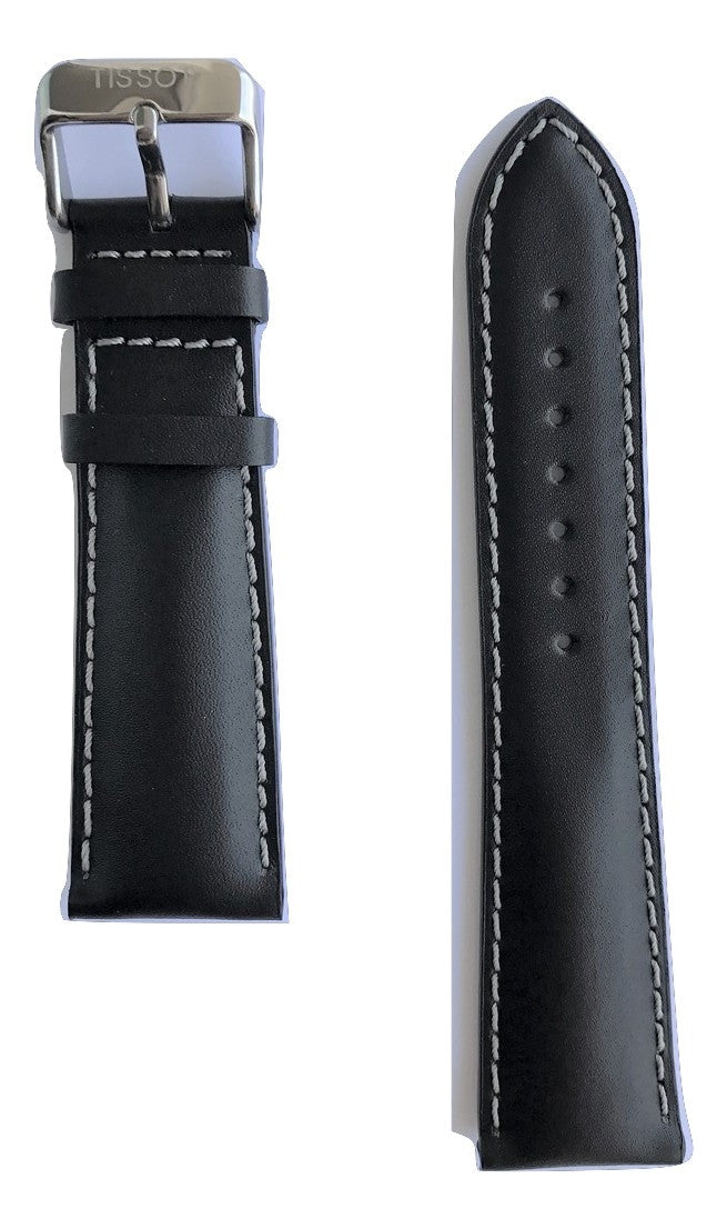 Tissot V8 Black Leather 22mm Strap Band for T361316A, T039417A, T106417A - WATCHBAND EXPERT