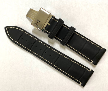 Hamilton RailRoad 22mm H406150 Black Leather Band Strap