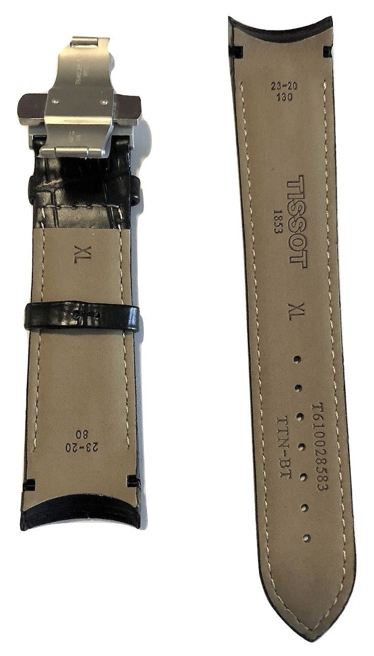 Tissot Couturier 23mm XL (80-130) Black Leather Band Strap with Clasp - WATCHBAND EXPERT