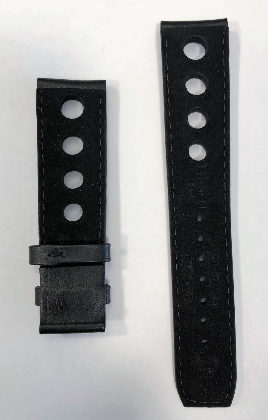 Tissot PRS 516 T100430A 20mm Black Leather Watch Band Strap - WATCHBAND EXPERT