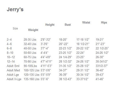 Jerry's Sizing Chart