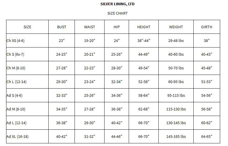 Silver lining size chart skaters landing