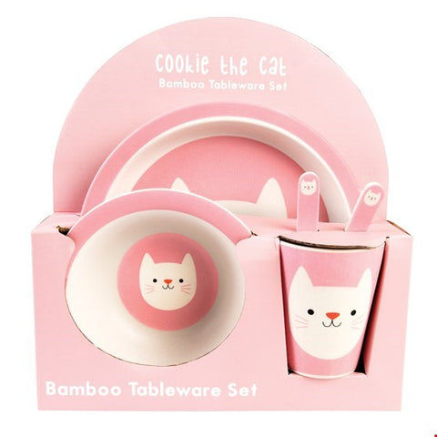 Cookie the Cat Bamboo Tableware Set
