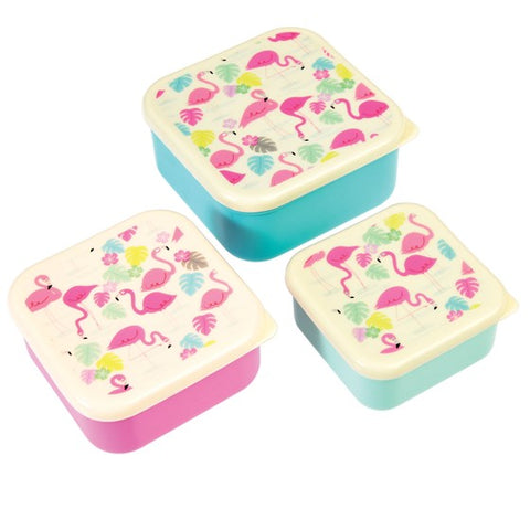 Set of 3 Flamingo Snack Boxes