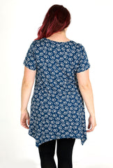 Navy & White Circle Print Top With Hanky Hem