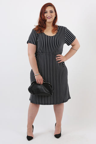 Black & White Stripe Dress With Waist Tie