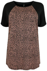Black & Brown Animal Print Panel Top,Plus size clothing,womens plus size clothing,big size ladies dress,plus size