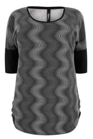 Black & Multi Optical  Illusion Top,Plus size clothing,womens plus size clothing,big size ladies dress,plus size