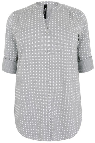 Grey With The White Polka Dot Shirt,Plus size clothing,womens plus size clothing,big size ladies dress,plus size