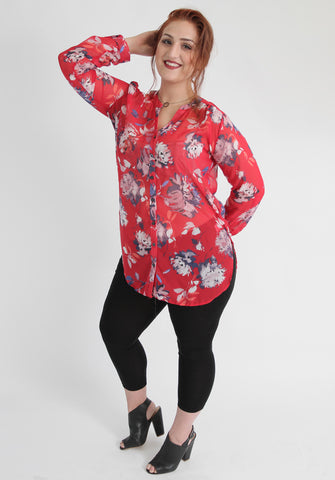 Red Floral Blouse,Plus size clothing,womens plus size clothing,big size ladies dress,plus size