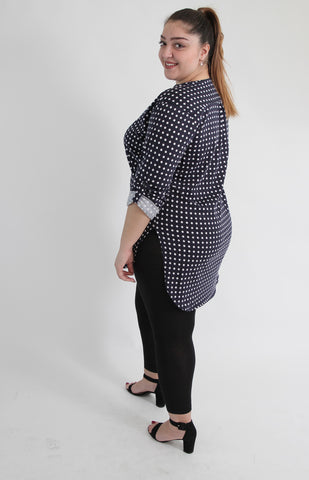 Navy&White Polka Dot Shirt With Curved Hem,Plus size clothing,womens plus size clothing,big size ladies dress,plus size