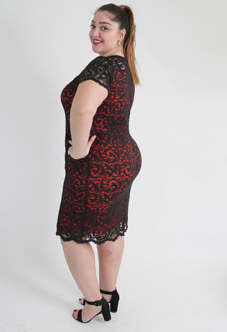 Black & Red Lace Dress,Plus size clothing,womens plus size clothing,big size ladies dress,plus size