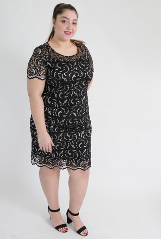 Black & Silver Lace Dress,Plus size clothing,womens plus size clothing,big size ladies dress,plus size