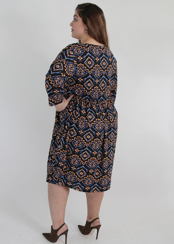 Multicolour Tribal Print Dress,Plus size clothing,womens plus size clothing,big size ladies dress,plus size