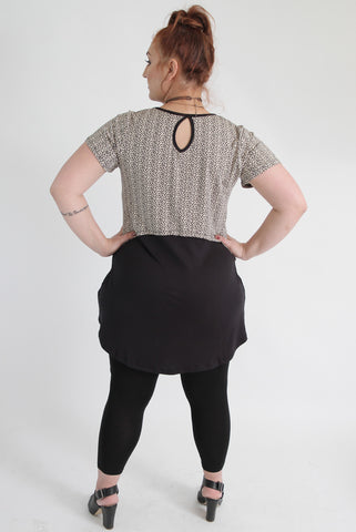 Black & Beige Top With Button Details,Plus size clothing,womens plus size clothing,big size ladies dress,plus size