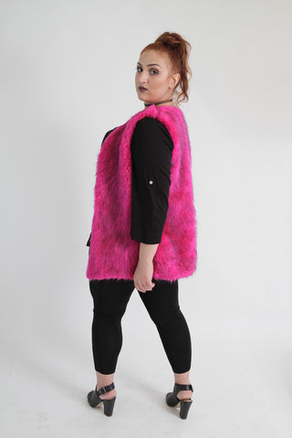 Pink Faux Fur Sleeveless Waistcoat,Plus size clothing,womens plus size clothing,big size ladies dress,plus size