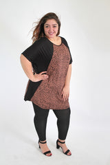 Black & Brown Animal Print Panel Top