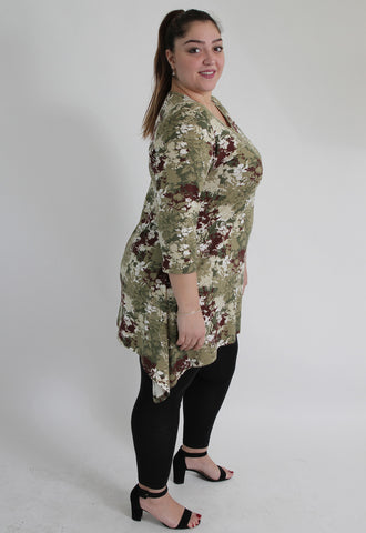 Camouflage Style Flower Print Top,Plus size clothing,womens plus size clothing,big size ladies dress,plus size