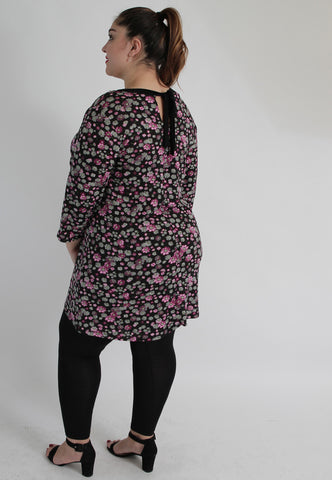 Black & Pink Multi Floral Print Top With Back Tie,Plus size clothing,womens plus size clothing,big size ladies dress,plus size