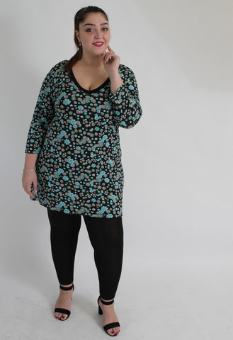 Black & Multi Floral Print Top With Back Tie,Plus size clothing,womens plus size clothing,big size ladies dress,plus size