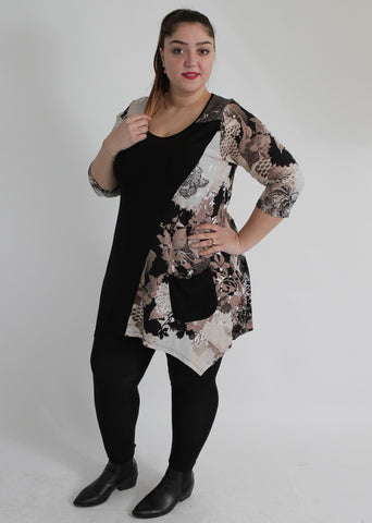 Black & Brown Floral Print Top With Side Pocket,Plus size clothing,womens plus size clothing,big size ladies dress,plus size