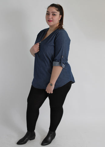 Indigo Denim Shirt With Zip,Plus size clothing,womens plus size clothing,big size ladies dress,plus size