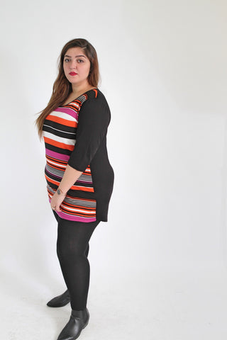 Black & Multi Colour Stripe Top